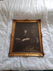 One of the first photographs of the painting depicting Sir Walter Scot