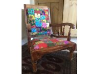 Beautiful Wood and Patchwork Fabric Chair