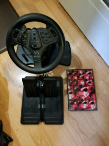 PS2 with steering wheel, pedals and game