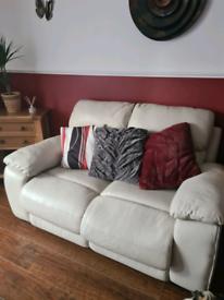 3 and 2 cream leather sofas