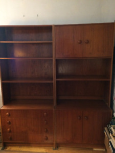 Two Matching Mid-Century Modern Teak Wall Units/Bookshelves