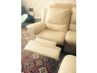 Cream leather corner suite
