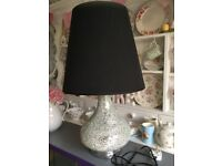 LARGE TABLE LAMP WITH MIRROR CRACKLED BASE