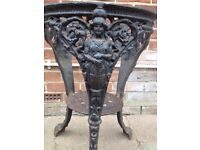 Heavy cast iron table base up cycle