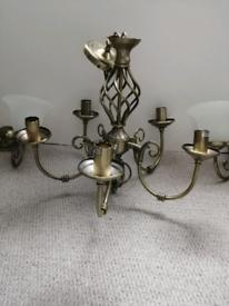 Antique brass chandelier set