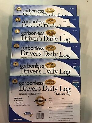 (6- Road Pro DRIVER'S DAILY LOG-  DUPLICATE COPY-CARBONLESS. 6 Pack)