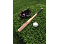 Homerun Baseball bat, glove and ball.