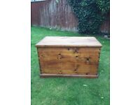 solid waxed pine heavy ottoman - coffee table or blanket box