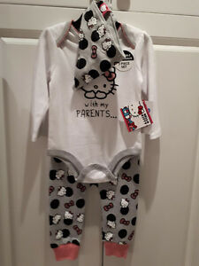 HELLO KITTY 3 PIECE OUTFIT....BRAND NEW! 12 MONTHS