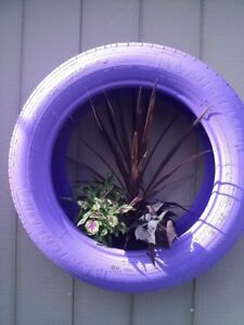 Custom Out door Art/ Upcycled Tire planters