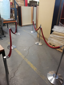 Stanchions With Thick Velvet Ropes