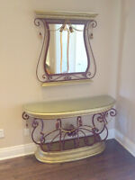 MOVING SALE! Unique console table and matching mirror set