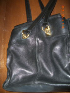 BEAUTIFUL BLACK LEATHER PURSE WITH SOLID BRASS HARDWARE