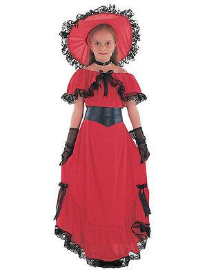 Scarlet O'Hara Girls Book Week Victorian Childrens Fancy Dress Kids Costume 3-13 (Scarlet Girl Kostüme)