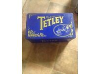 Vintage Retro Tetley Tea tin.Blue & Gold