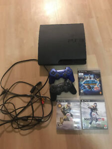 PS3, 2 CONTROLLERS, 3 GAMES, CABLES