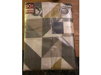 """Julian Charles brand new Grey and yellow curtains. delta fully lined curtains. Eyelet 90"""" X 72"""""""