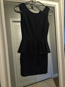 Black Flower Peplum Dress - Size Small Kitchener / Waterloo Kitchener Area image 1