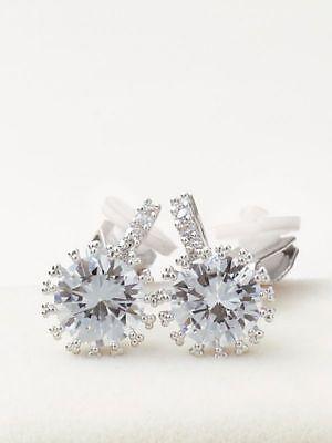 (6.00 Carat Big Round Diamond Earrings 18K White Gold)