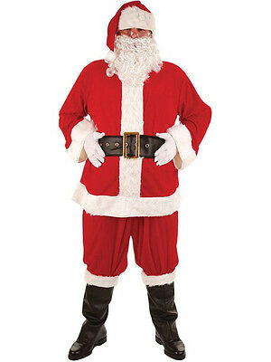 Adult 8 Piece Deluxe Santa Claus Suit Father Christmas Xmas Fancy Dress Costume