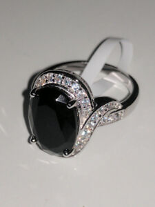 Black Oval Swarovski Diamond Ring Size 7 **Mother's Day Sale**
