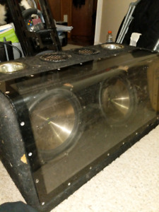 "2 Insignia 12"" Subwoofers w/ amp and box"