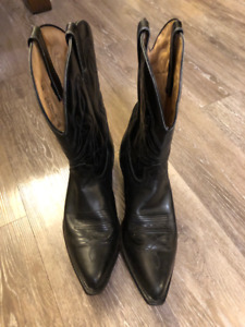 Men's Black Leather Cowboy Boots