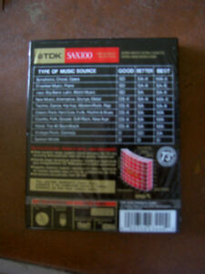 Audio Cassettes New Factory Sealed MAXELL / BASF / TDK / 90/100m West Island Greater Montréal image 4