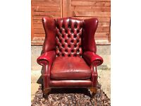 Vintage CHESTERFIELD QUEEN ANNE WING Leather Armchair CAN DELIVER