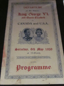 1939 Departure Programe for King George VI and Queen Elizabeth