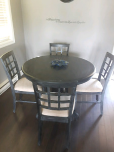 Antiqued buffet and hutch with table and chairs (SOLD)