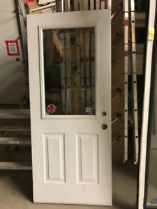 34x79 Insulated Steel Door White Used Door (Damaged)