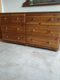 Rare Solid Pine 6 Drawer Double Chest