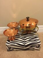 Copper Chaffing Dish & Serving Bowls
