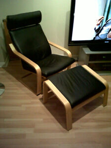 Ikea Poang Leather chair with stool