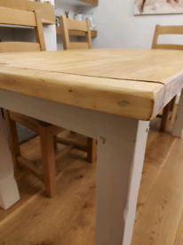 Rustic chunky pine shabby chic painted dining table vgc