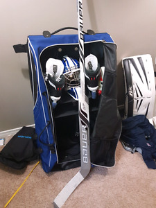 BAUER FULL RIGHT GOALIE STICK and XL GOALIE PANTS