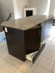 Kitchen Cabinet with Granite countertop and stove