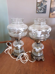 Pair of antique glass lamps