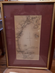 antique map of the town of scarborough - framed