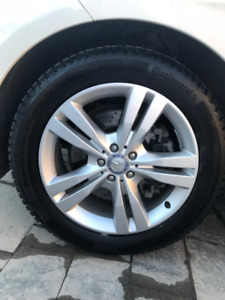 "19"" Mercedes OEM ML/GL Mags with Continental Winter Tires 9/32"