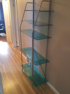 """Blue Glass"" modern shelf unit 60$"