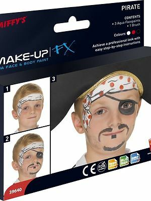 Pirate Dress Up For Boys (Boys Girls Childs Pirate Make Up Kit Face & Body Paint Water Based Fancy)