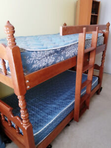 Wooden Bunk Bed w/Mattress and Box Springs
