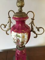 2 rosey red antique lamps