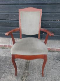 Vintage retro antique wooden mid century velvet armchair carver chair
