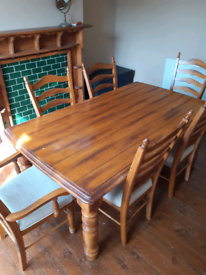 Heavy Hardwood Dining Table & 6 Chairs