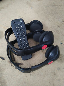 Headphones and remote for Chevrolet DVD player.