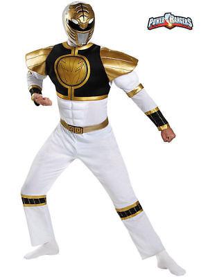 Disguise White Power Ranger Muscle Men Adult Bodysuit Halloween Costume 82847