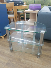 Glass clear tv stand